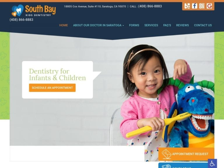 South Bay Kids Dentistry Website Screenshot from url southbaykidsdentistry.com