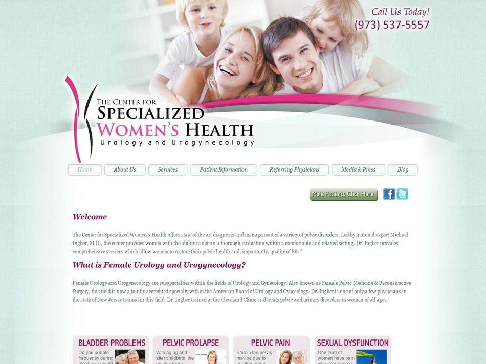 The Center for Specialized Women's Health Website Screenshot from url specializedwomenshealth.com