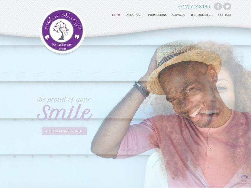Super Smiles Dental Center Website Screenshot from url supersmilesbuda.com