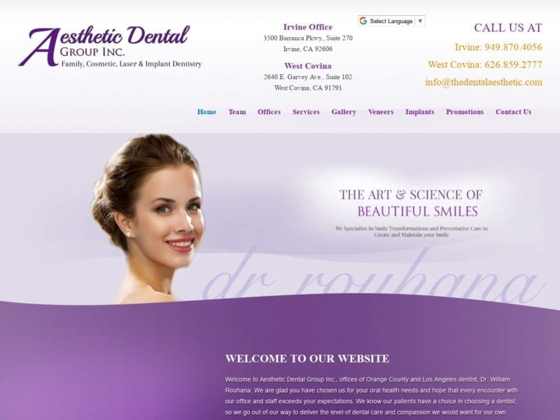 Aesthetic Dental Group Website Screenshot from url thedentalaesthetic.com