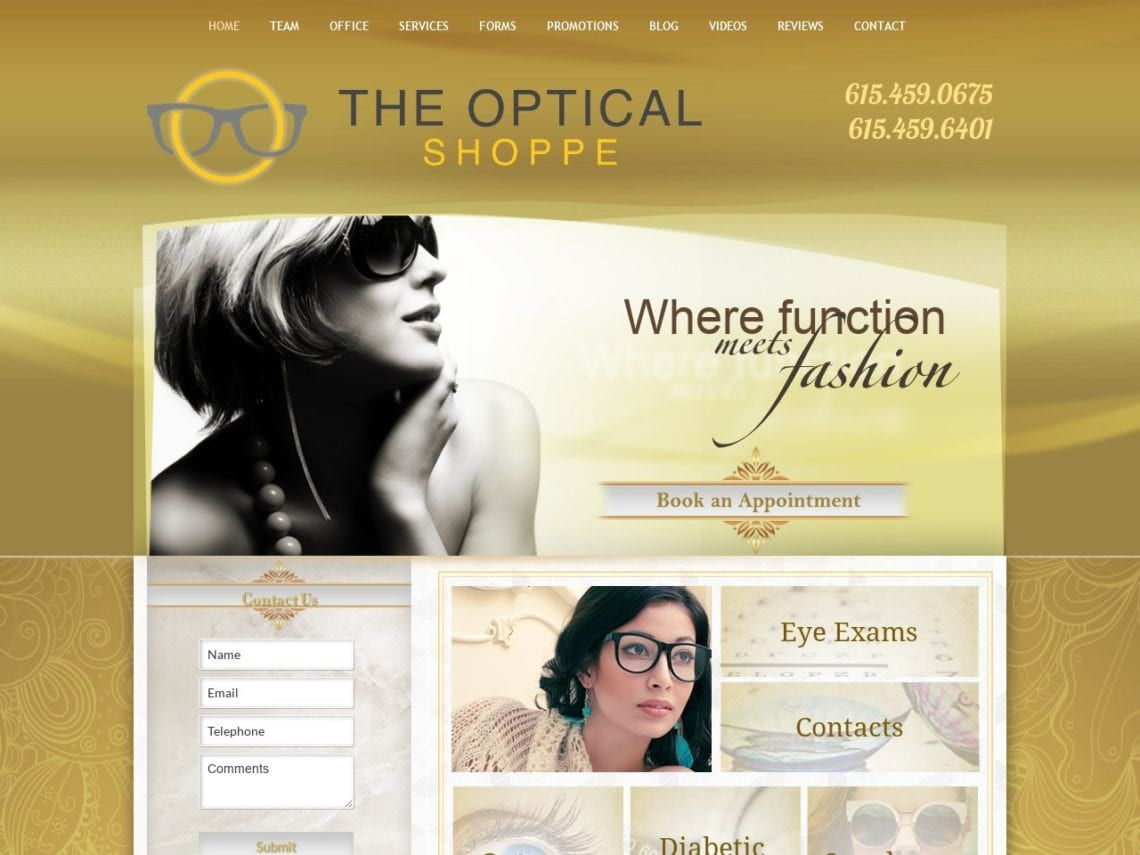 Optical Shoppe Website Screenshot from url theopticalshoppetn.com