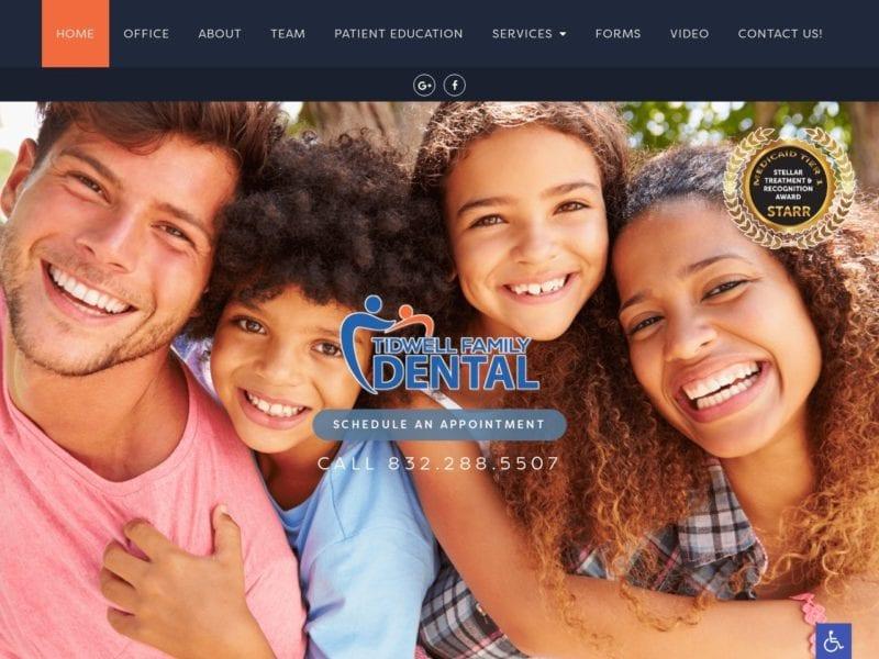 Houston General Dentistry Website Screenshot from url tidwellfamilydental.com