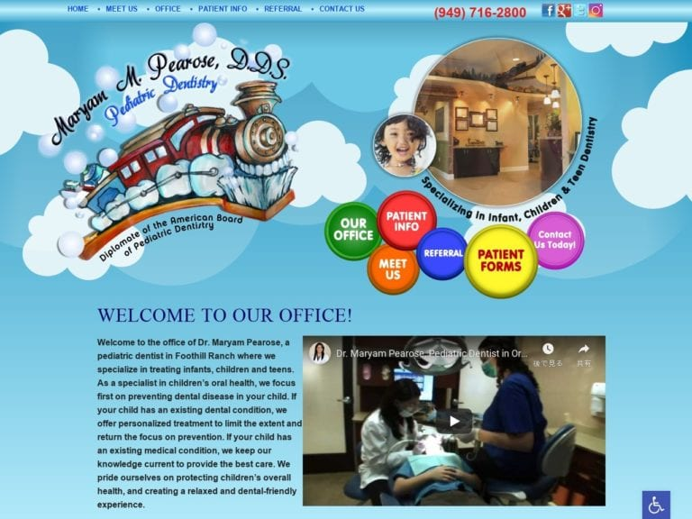 Dr. Pearose Pediatric Dental Website Screenshot from url toporangecountykidsdentist.com