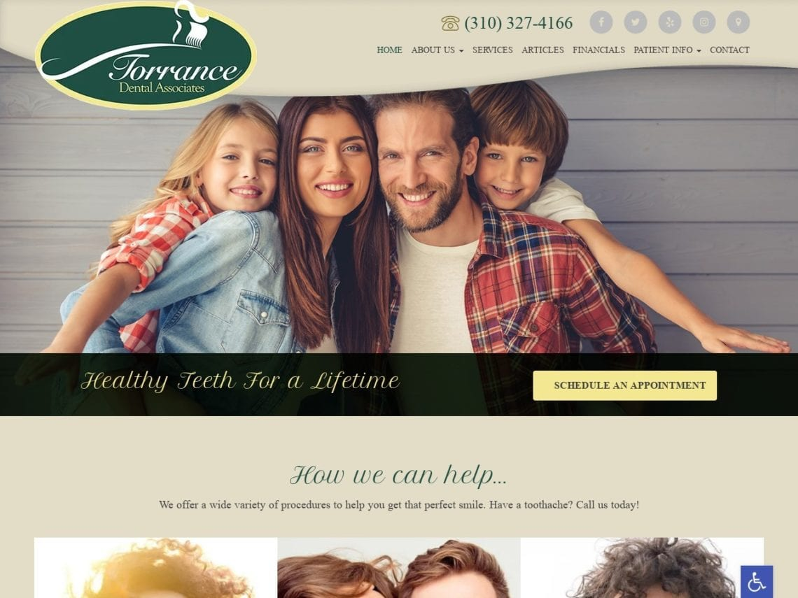 Torrance Dental Associates Website Screenshot from url torrancedentalassociates.com