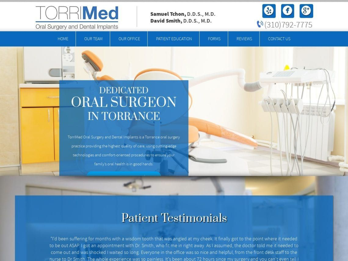 Torri Oral Surgery and Dental Implants Website Screenshot from url torrimed.com