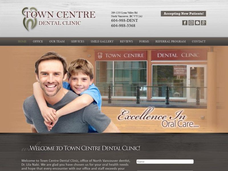 Town Centre Dental Clinic Website Screenshot from url towncentredental.ca