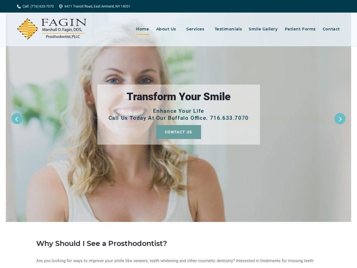 Transform Your Smile Website Screenshot from url transformyoursmile.com