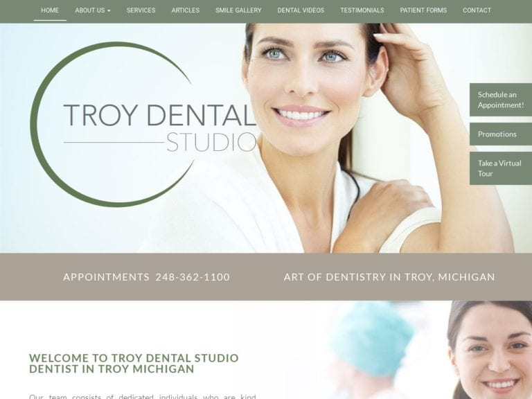 Troy Dental Studio Website Screenshot from url troydentalstudio.com
