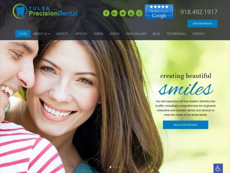 Tulsa Precision Dental Website Screenshot from url tulsaprecisiondental.com
