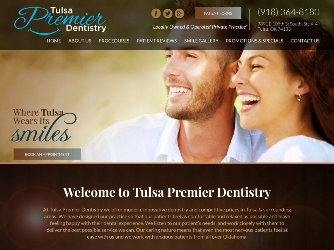 Tulsa Premier Dentistry Website Screenshot from url tulsapremierdentistry.com