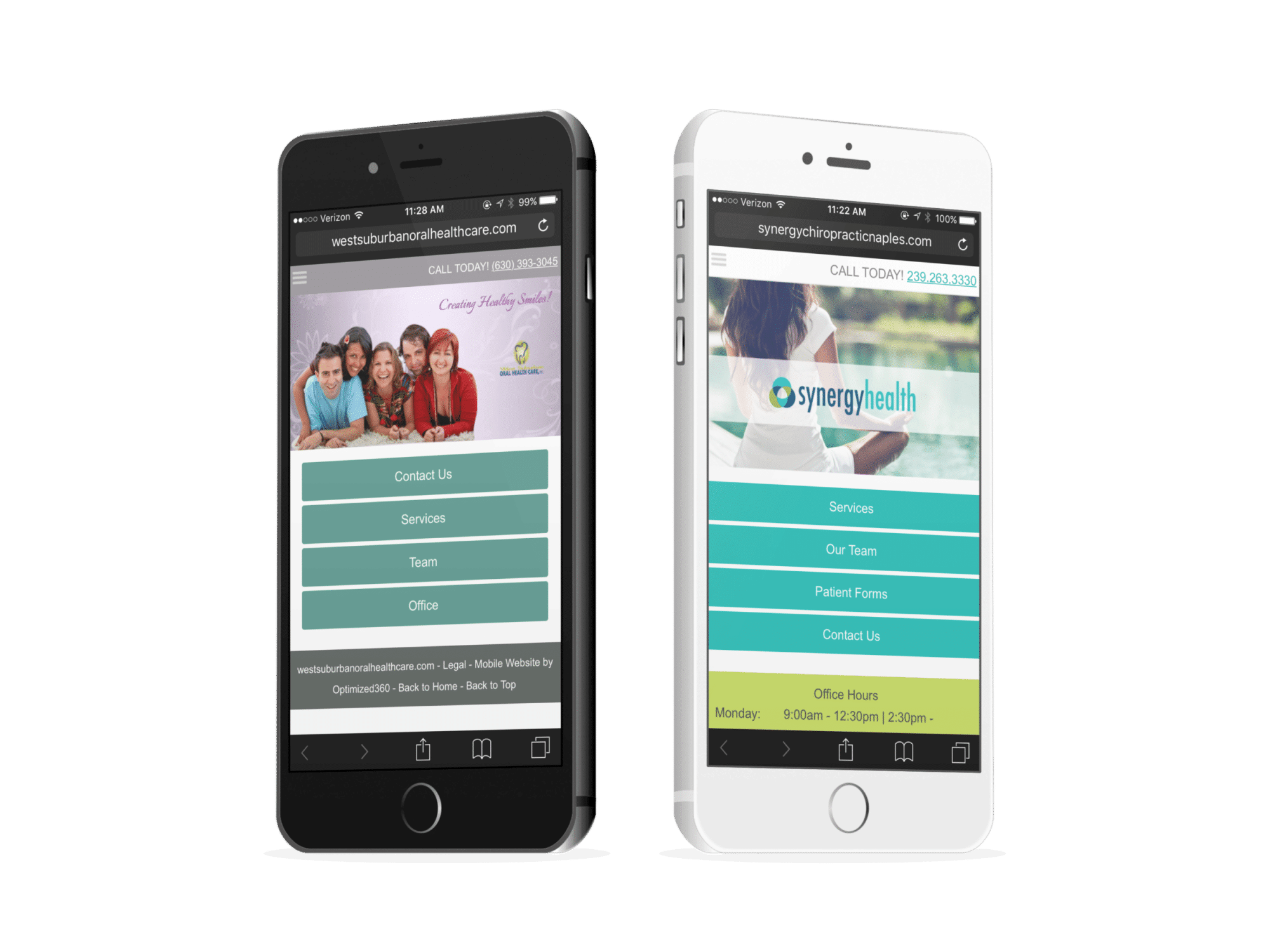 Two Healthcare Mobile Websites On Phones