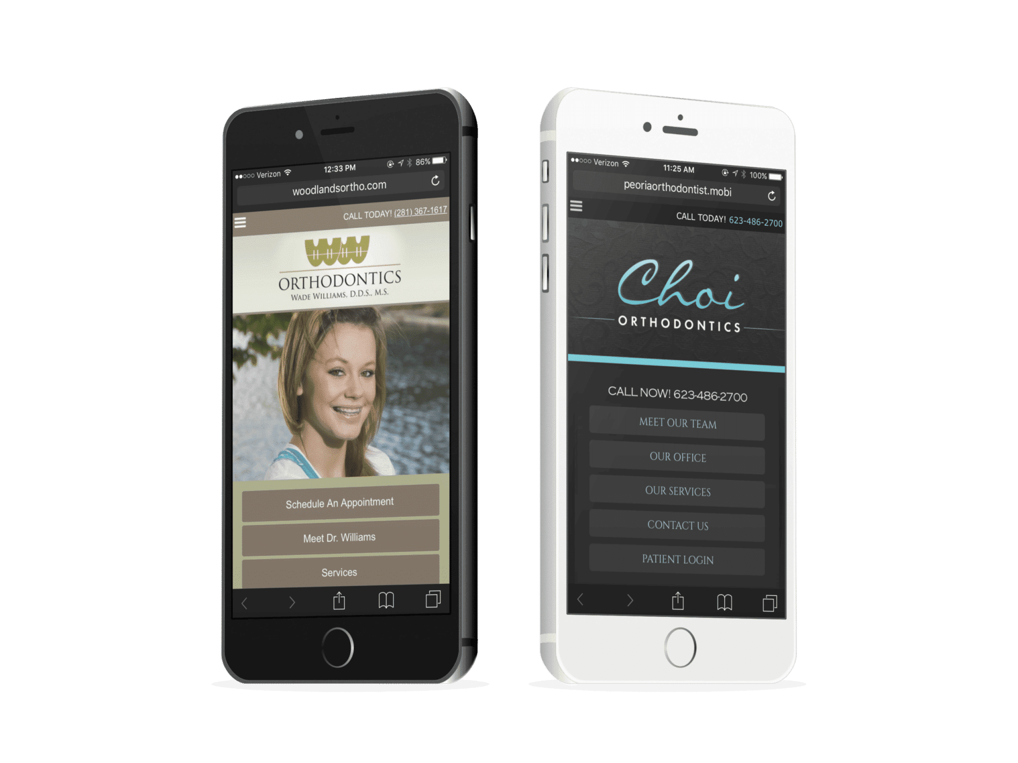 Two Mobile Websites Belong To Two Orthodontists
