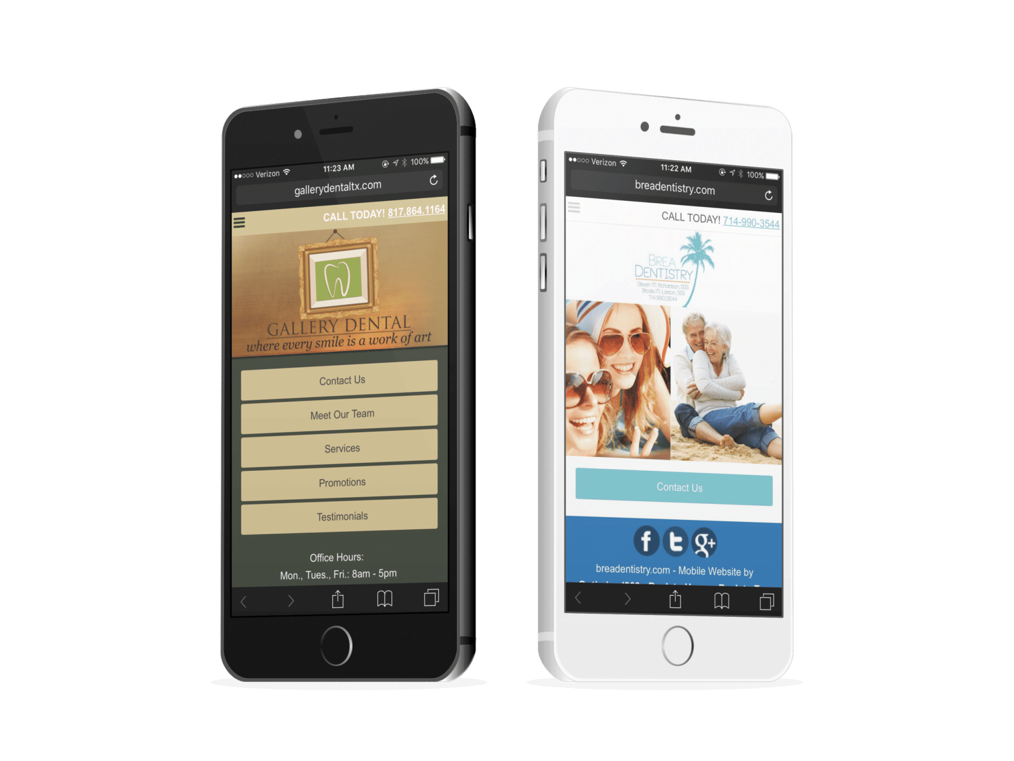 Two Periodontic Mobile Websites On Phones