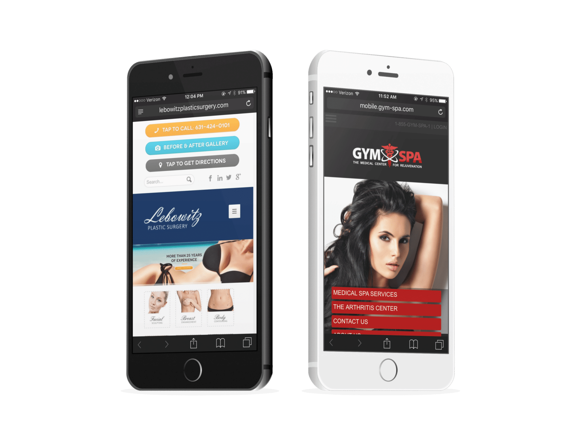 Two Plastic And Cosmetic Surgery Mobile Websites