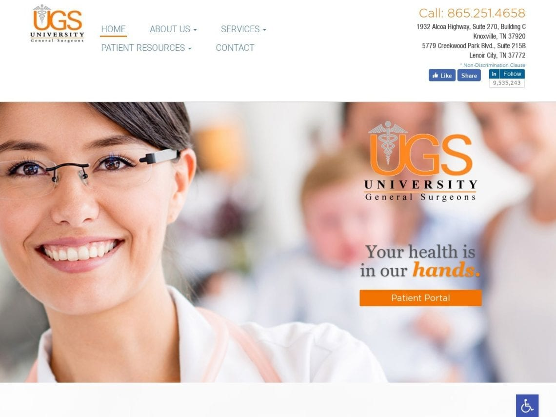 University General Surgeons Website Screenshot from url utksurgery.com