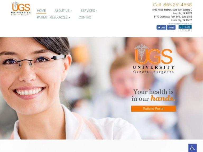 University General Surgeons Website Screenshot from url utksurgery.com