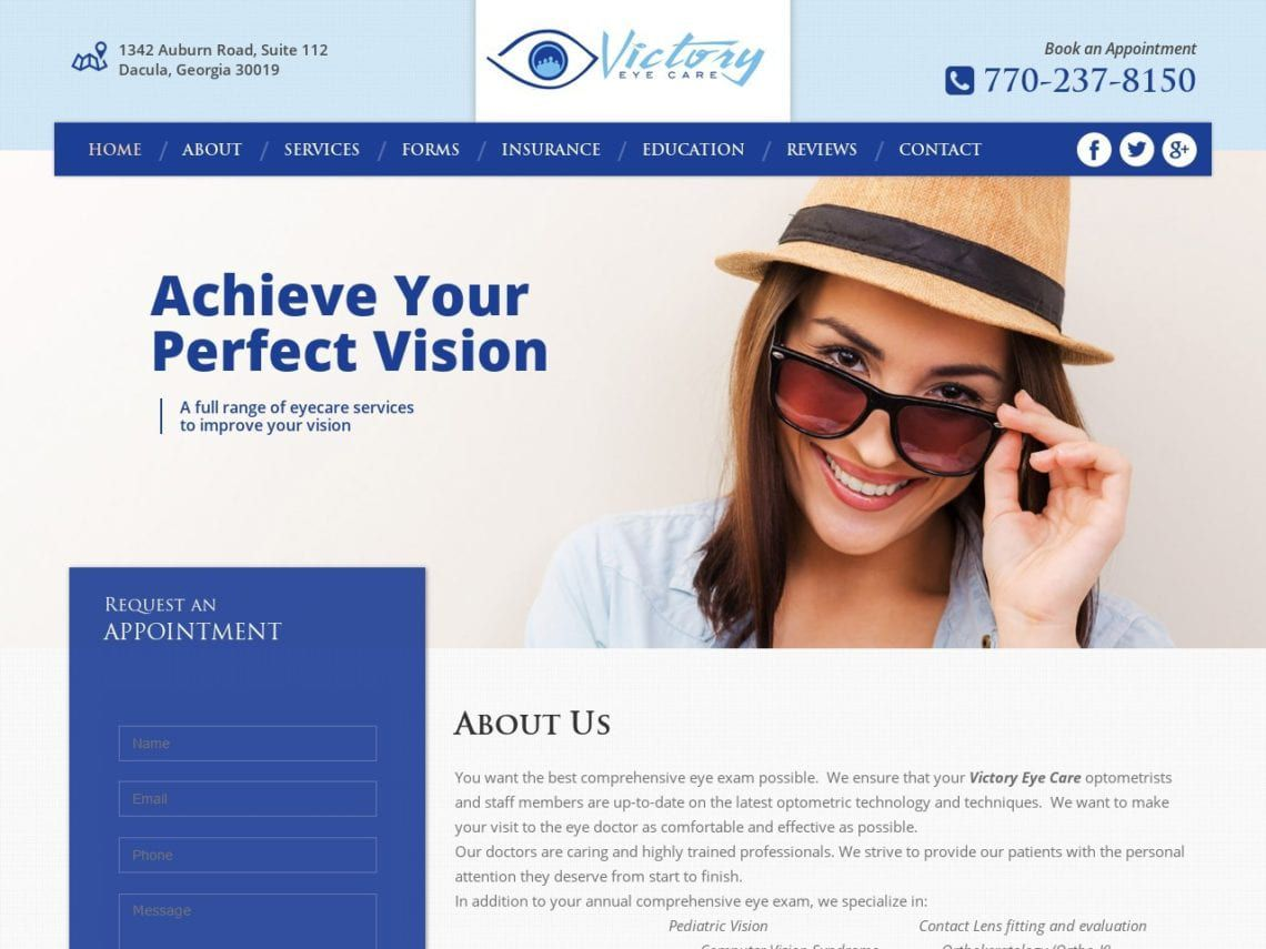 Victory Eye Care Website Screenshot from url victoryeyecare.com