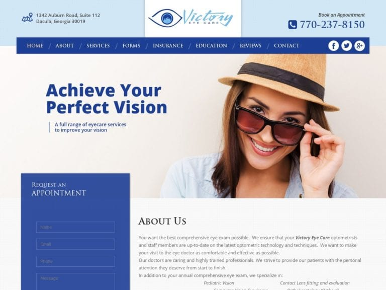 Victory Eye Care Website Screenshot from url victoryeyecare.com