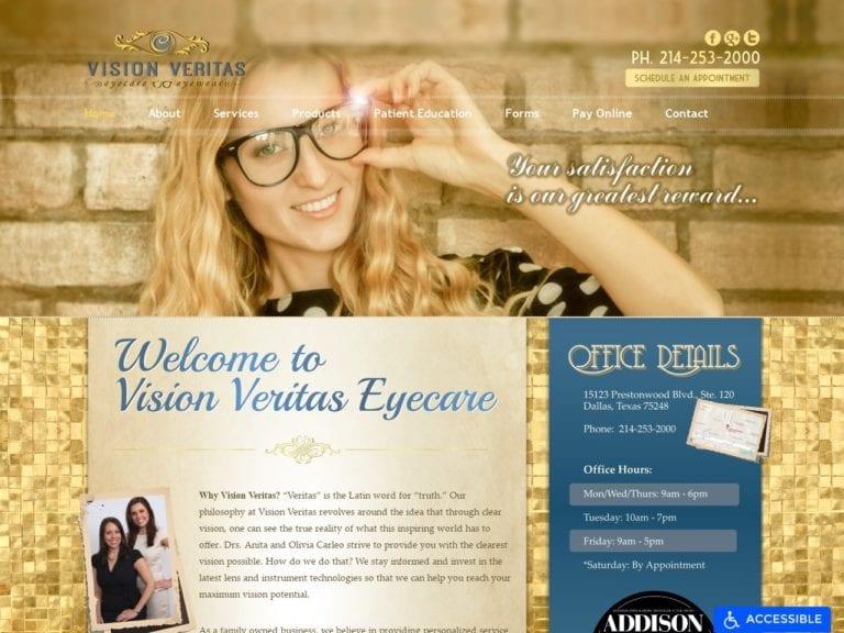 Vision Veritas Eye Care Website Screenshot from url visionveritaseyecare.com