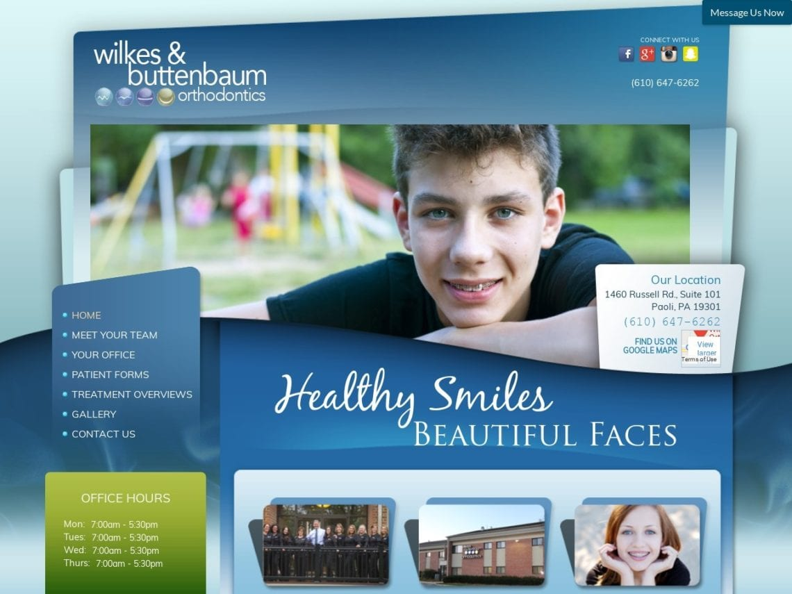 Wilkes Buttenbaum Orthodontics Website Screenshot from url wbortho.com