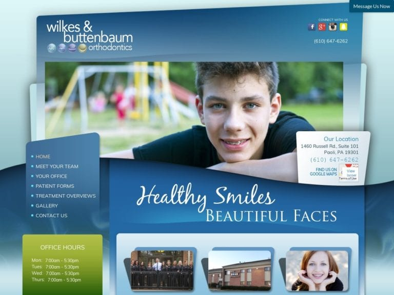 Wilkes Buttenbaum Orthodontics Website Screenshot from url wbortho.com