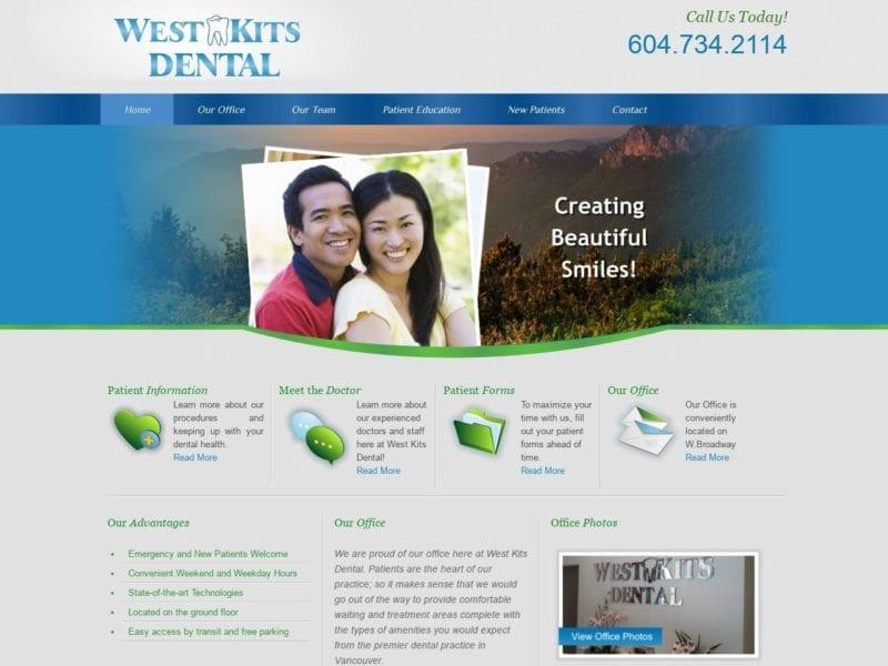 West Kits Dental Website Screenshot from url westkitsdental.com