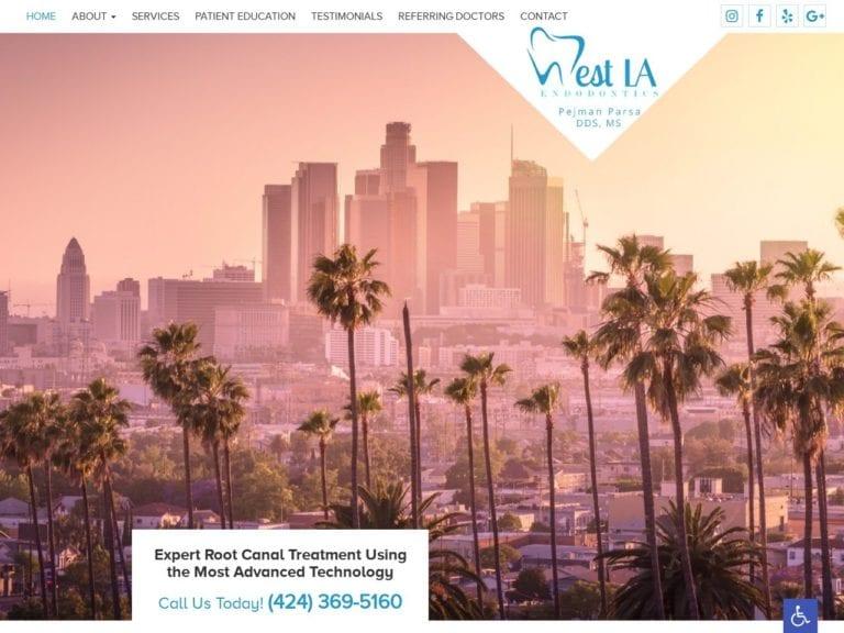 West LA Endodontics Website Screenshot from url westlaendo.com