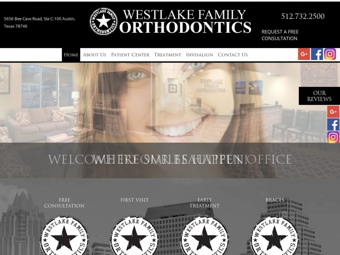 Westlake Family Orthodontics Website Screenshot from url westlakefamilyortho.com