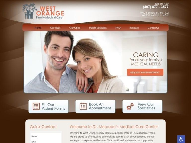 West Orange Family Medical Care Website Screenshot from url westorangefamilymedical.com