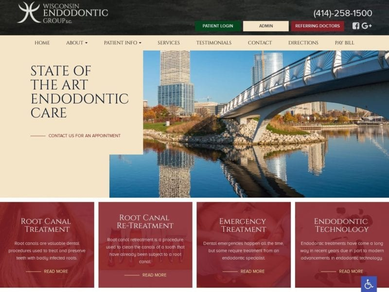 Wisconsin Endodontics Group Website Screenshot from url wiendogroup.com