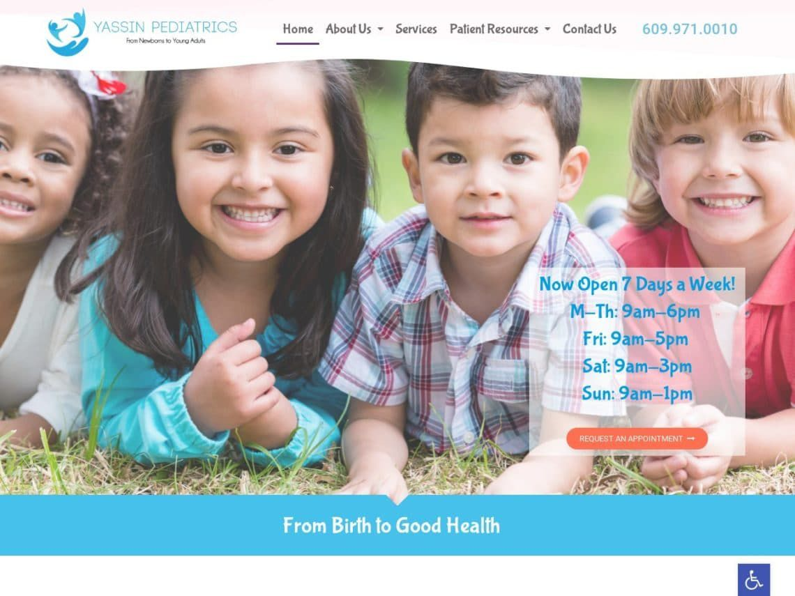 Yassin Pediatrics Website Screenshot from url yassinpediatrics.com