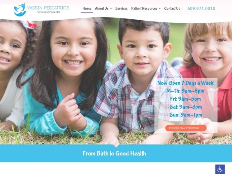 Yassin Pediatrics Website Screenshot from url yassinpediatrics.com