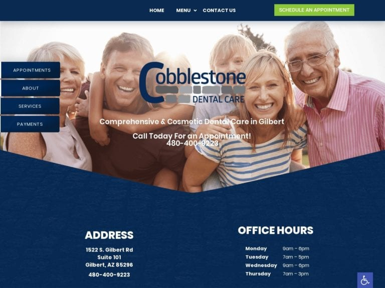 Cobblestone Dental Care Website Screenshot from url yourgilbertdentist.com