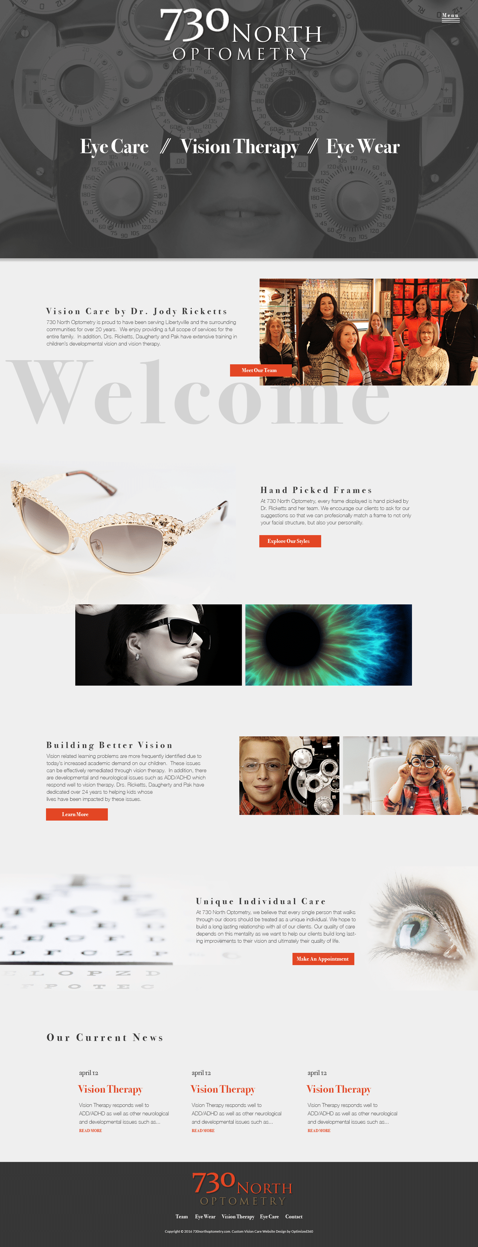 730 North Optometry Website Full Page