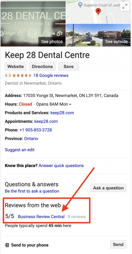 Google Approval Of Business Reiew Centra On The Map Panel