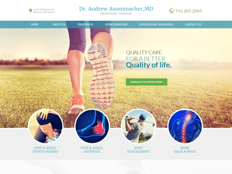 Dr. Andrew Foot And Ankle Specialist Website 1600x1200