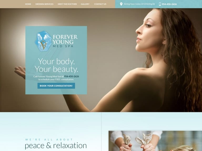 Forever Young Full Page Medical Spa Website 1600x1200
