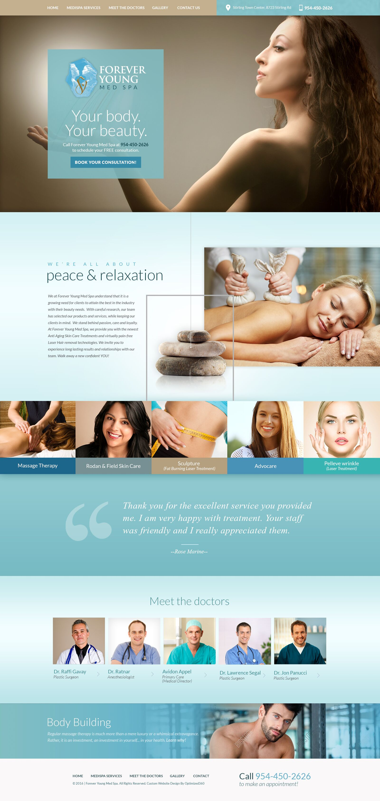 Forever Young Full Page Medical Spa Website